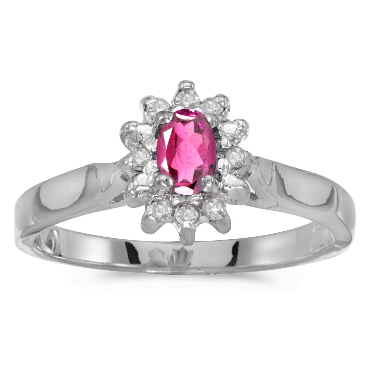 10k White Gold Oval Pink Topaz And Diamond Ring by