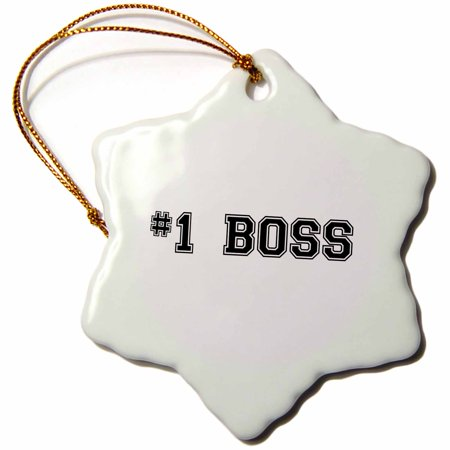 3dRose #1 Boss - Number One Best Greatest Boss - Work and Office gifts - fun flattering gifts - black - Snowflake Ornament,