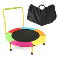 Safe Kids Trampoline Portable & Foldable - 36 Inch Durable Construction With Padded Frame Cover And Handle Bar