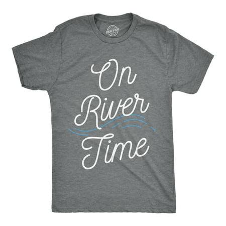 Mens On River Time T shirt Summer Vacation Cabin Lake Camping