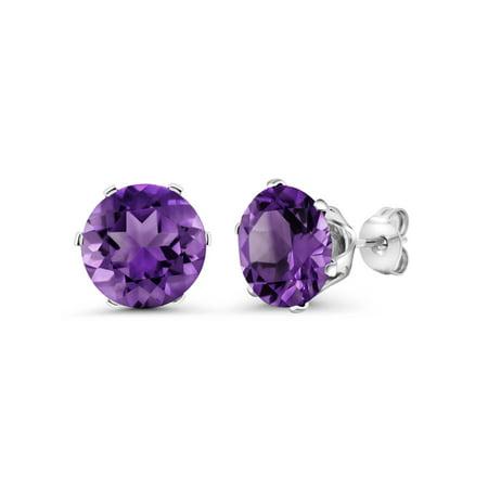 - 6.00 Ct Round 10mm Purple Amethyst Gemstone Birthstone Stud Earring