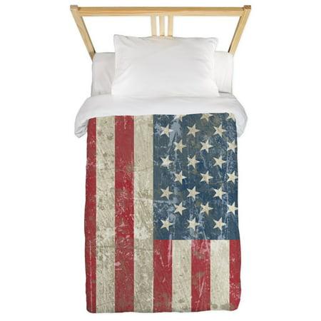CafePress - Vintage USA Flag Twin Duvet - Twin Duvet Cover, Printed Comforter Cover Microfiber ()