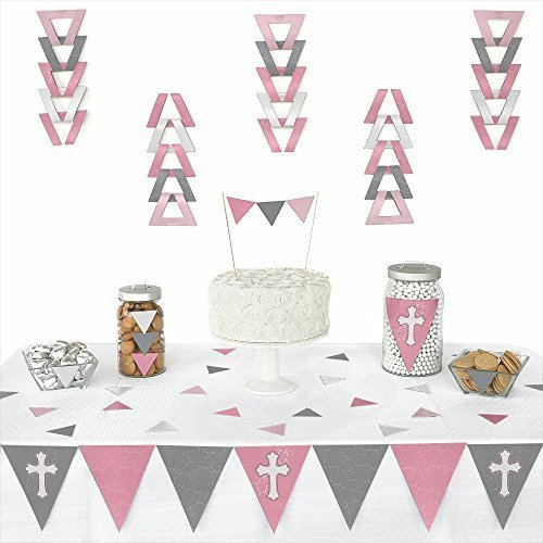 Little Miracle Girl Pink & Gray Cross - Baptism Triangle Party Decoration Kit- 72 Pieces