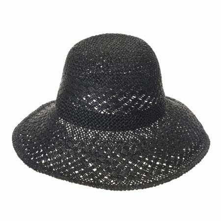 WITHMOONS Flanging Straw Crochet Sun Hat Summer Bowler For Women SLH1036 (Crochet Straw)