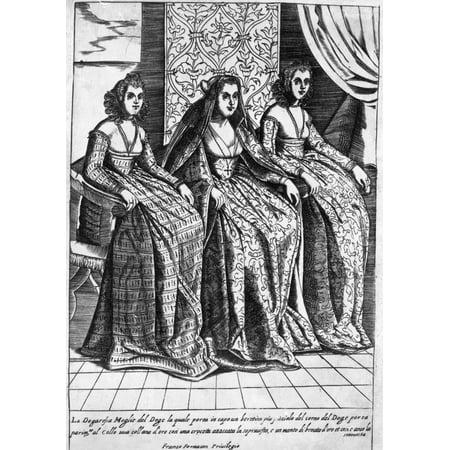 Venetian Women C1600 Nvenetian Women Line Engraving From Giacomo Francos Habiti Delle Donne Venetiane  Costumes Of Venetian Women  C1600 Rolled Canvas Art     24 X 36