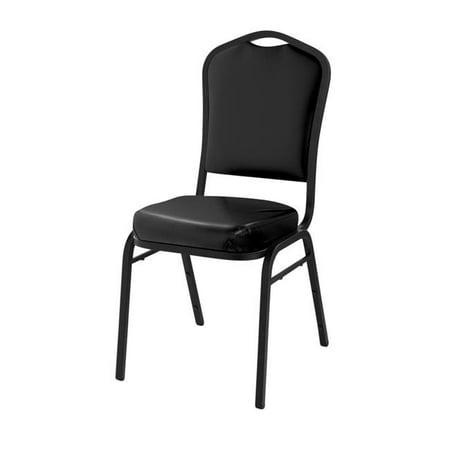 Vinyl Padded Stack Chair - National Public Seating 9310-BT Deluxe Vinyl Upholstered Padded Stack Chair, Panther Black & Black Santex