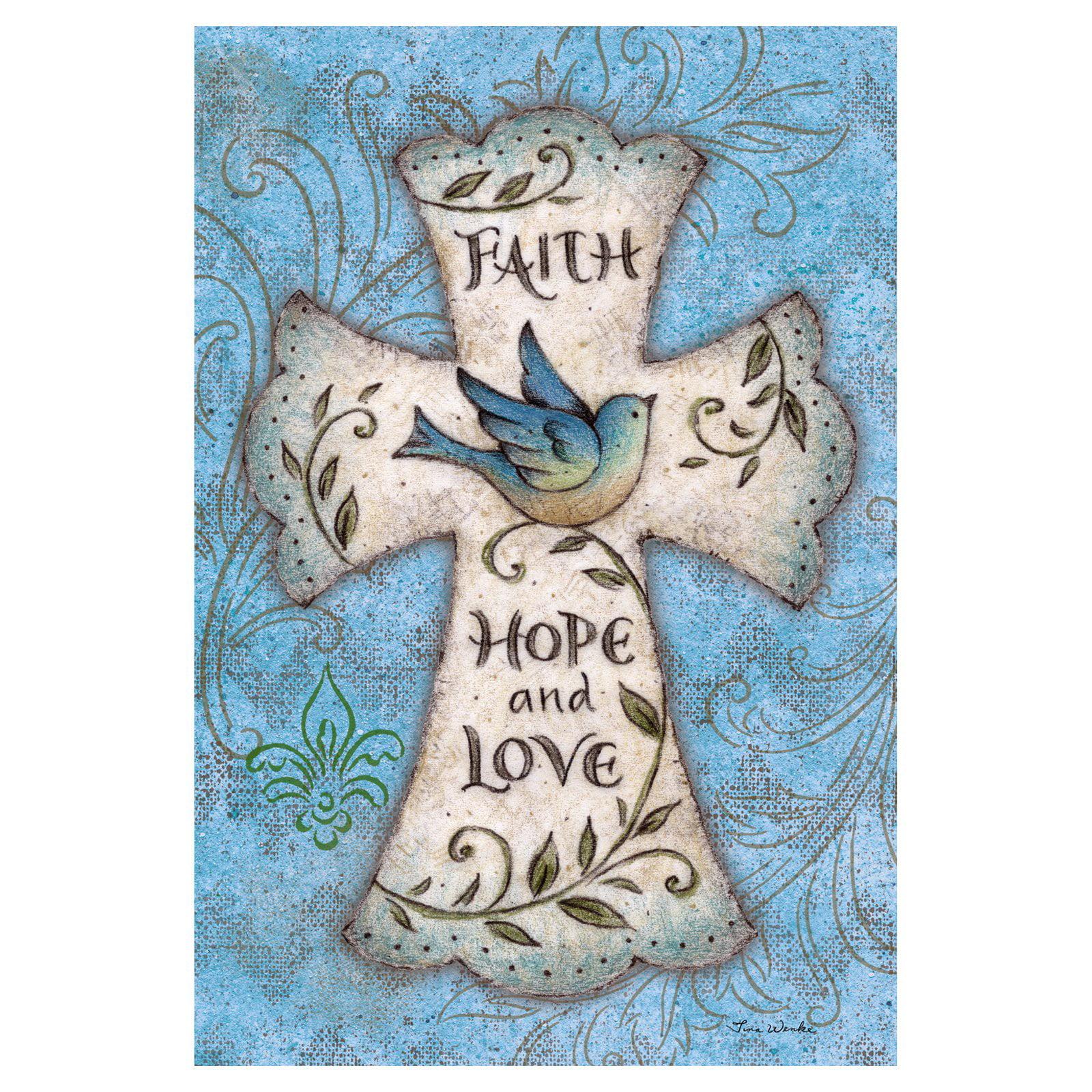 Toland Home Garden Faith Hope Love Flag