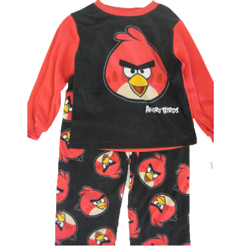 Angry Birds Little Boys Black Red Cartoon Printed 2 Pc Pajama Set 2T-4T