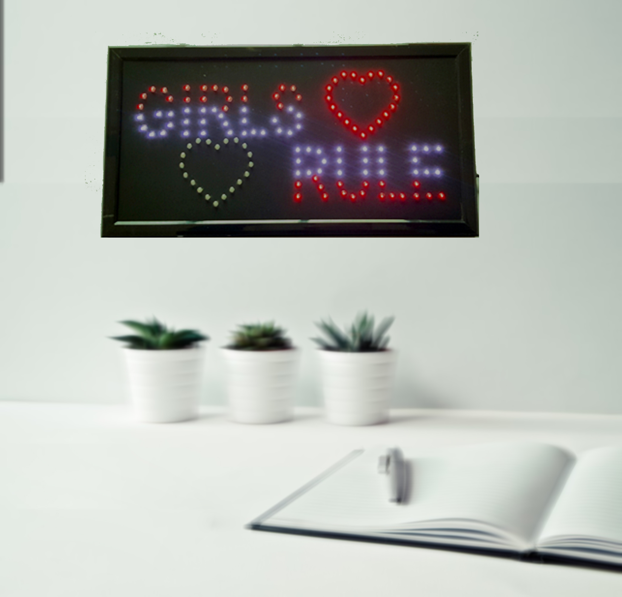 "Creative Motion Electrical Girls Rule LED Sign; Size: 21"" x 10"", Eye Catching for any room, dorm, shop, restauant decor"