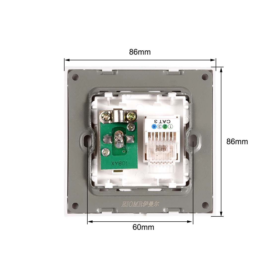 RJ11 Telephone TV Aerial Double Ports Socket Wall Plate Panel 86 Type - image 2 of 3