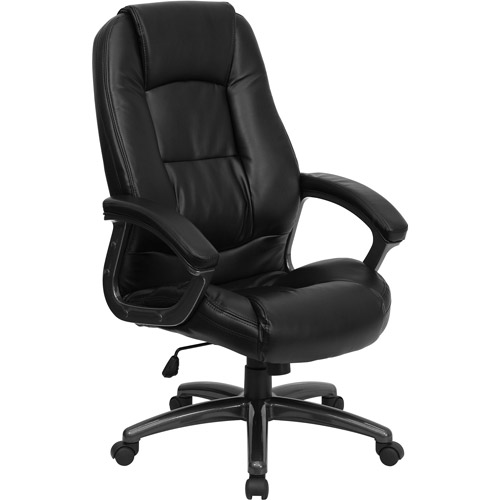 Leather Executive High-Back Office Chair with Waterfall Seat, Black