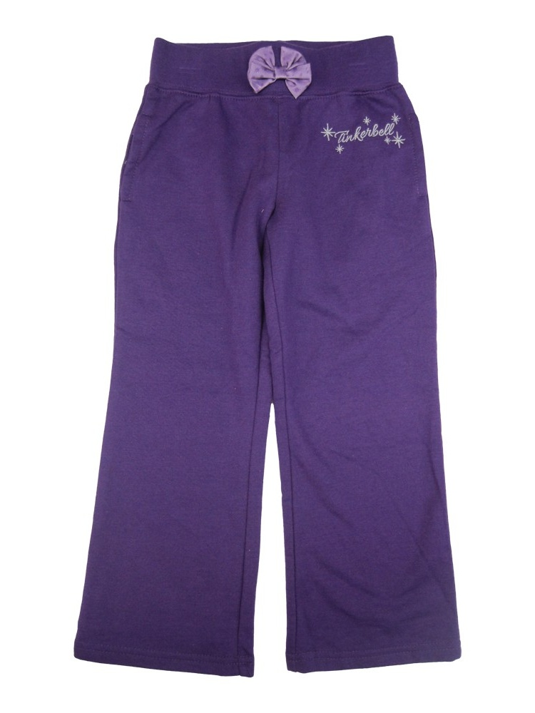 Little Girls Purple Tinker Bell Star Print Bow Sweat Pants 2-4T