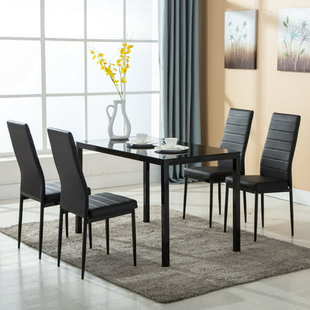 5 Piece Glass Dinning Table Sets With 4 Elegant High Backrest Dining Chairs Kitchen Room Modern Breakfast Furniture(Simple Pattern) ()