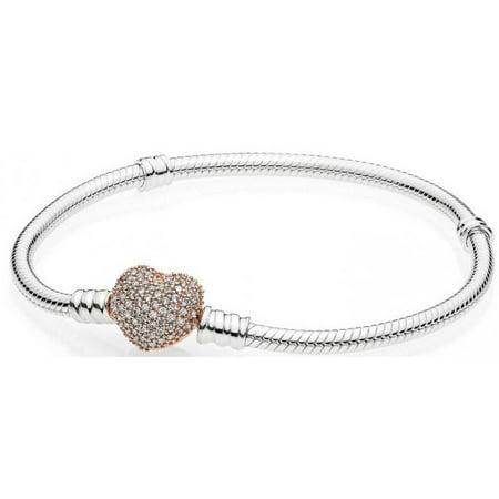 Sterling Silver Bracelet, Rose Pav? Heart Clasp 586292CZ-20 cm 7.9 in ()