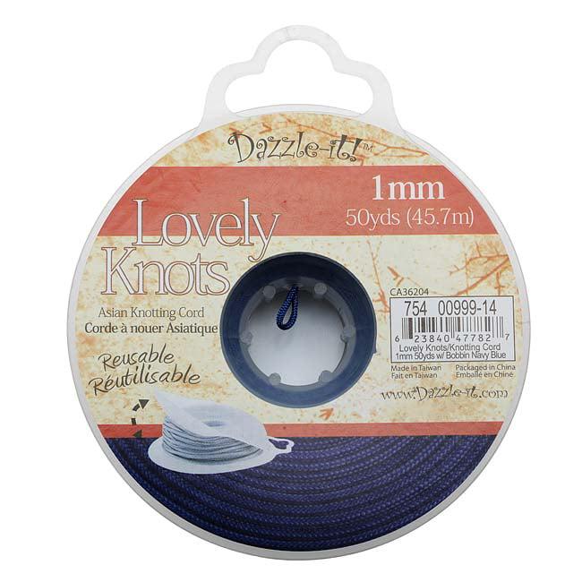 Lovely Knots - Asian Knotting Cord 1mm Thick - Navy Blue (50 Yards On Bobbin)