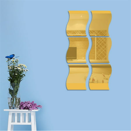 6pcs 20x20cm Waves Shape Self-adhesive Tile 3D Mirror Wall Stickers Decal Room Decorations Modern Mirror Tiles (Heart Shape Mirror)