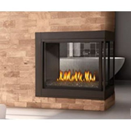 Peninsula Clean Face Fireplace With Glass Natural Gas