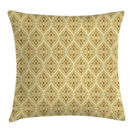 Damask Throw Pillow Cushion Cover, Victorian Vintage Royal Ornamental Tiles Middle Age Renaissance Pattern, Decorative Square Accent Pillow Case, 16 X 16 Inches, Light Yellow Amber, by Ambesonne