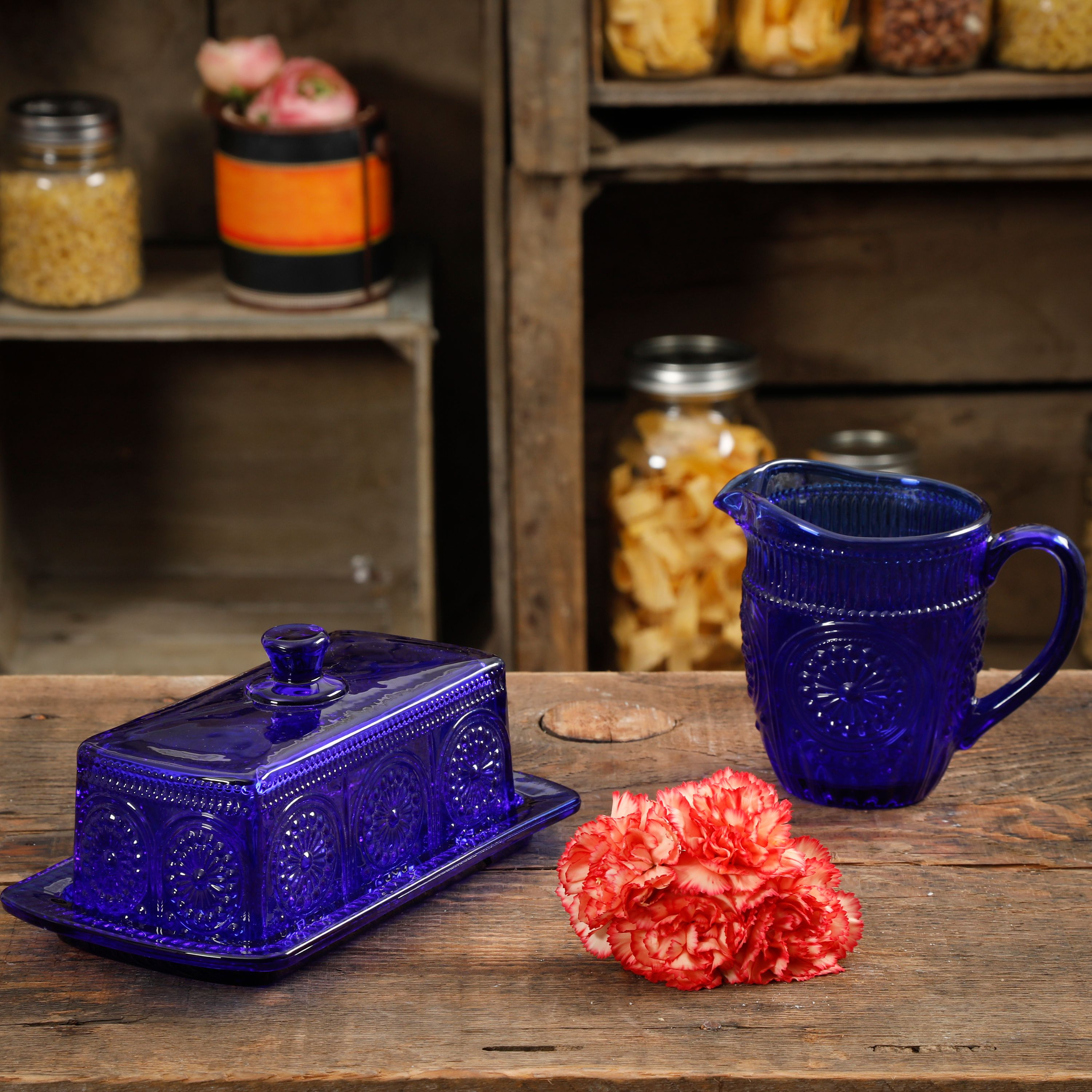 The Pioneer Woman Adeline 3-Piece Cobalt Embossed Butter Dish & Creamer Set