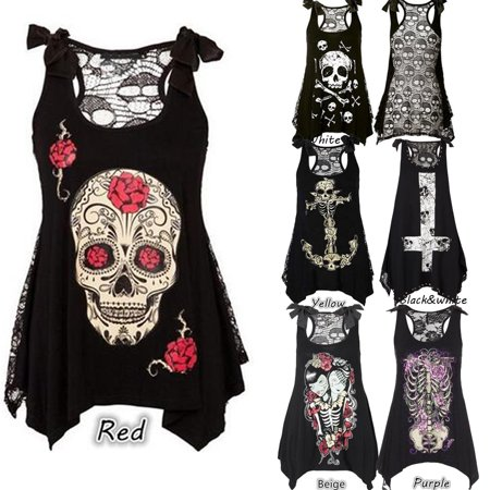 Lace Shift - Gamiss  Women's Girls Irregular Tank Top Sleeveless Skull Print Loose Lace Patchwork Bandages Casual Sleeveless Tops S-5XL