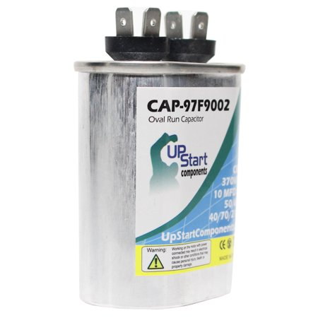 2-Pack 10 MFD 370 Volt Oval Run Capacitor Replacement for Coleman / York 024-20046-000 - CAP-97F9002, UpStart Components Brand - image 3 de 4