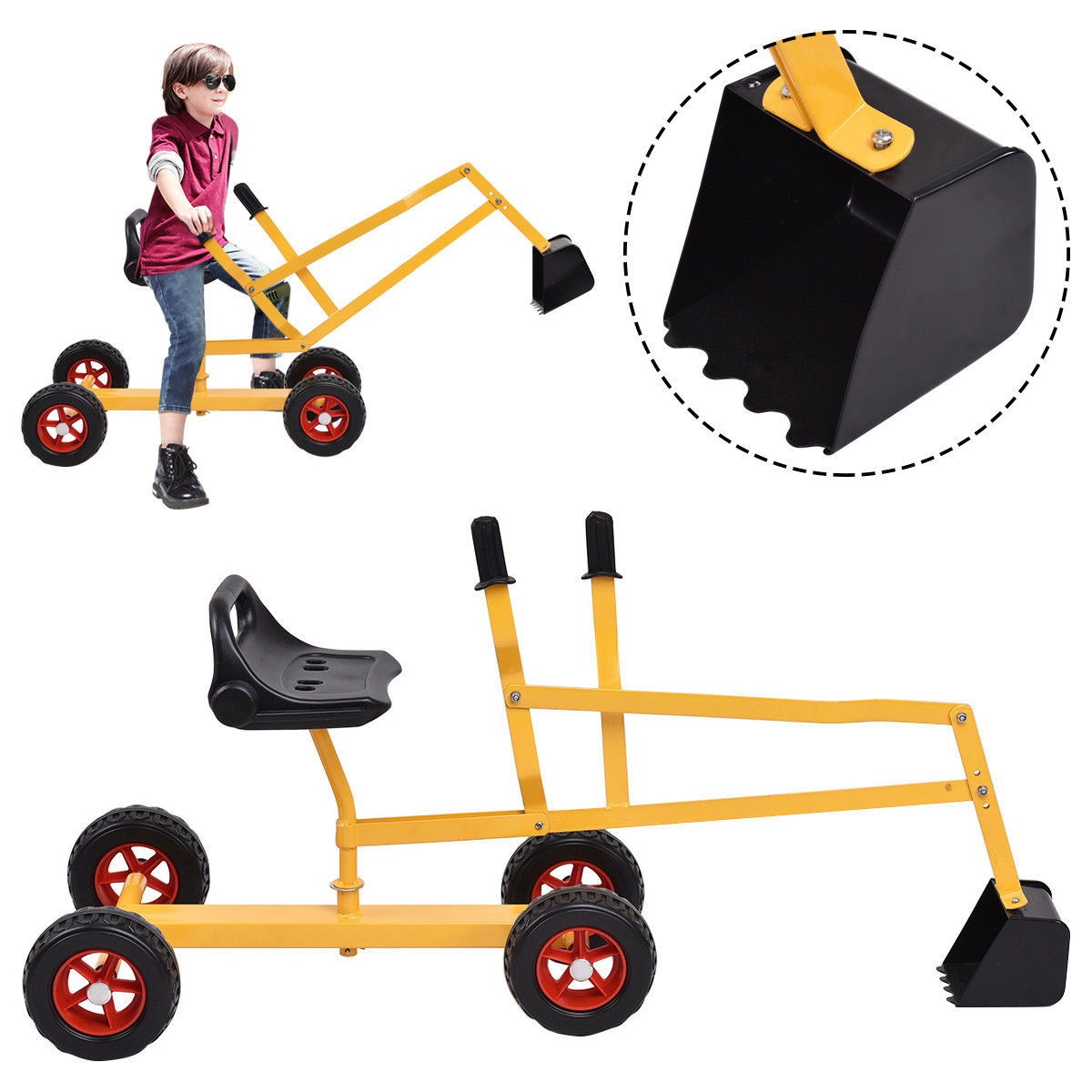 Gymax Heavy Duty Kid Ride-on Sand Digger Excavator Digging Scooper Toy 4-Wheel by Gymax