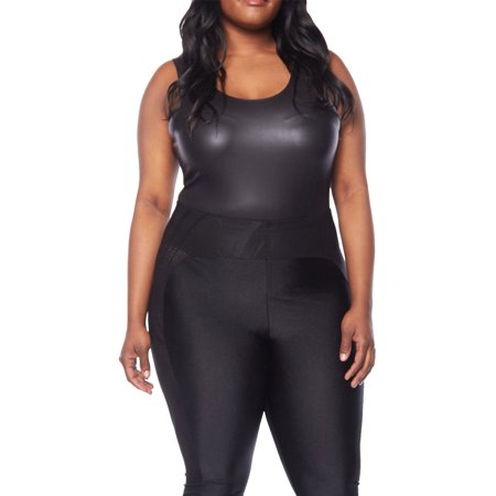 9c58c5973f5 Womens Plus Size Sexy Solid Sleeveless Bling Tank Back Open Bodysuit  1762-2XL-Black