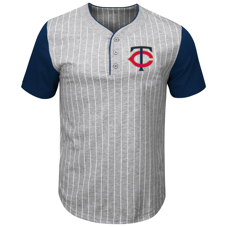Minnesota Twins Majestic Life Or Death Pinstripe Henley T-Shirt - Gray/Navy