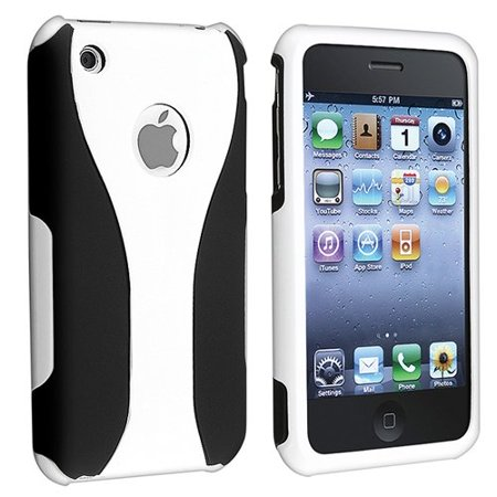 Rubberized Hard Snap-on Cup Shape Case for iPhone 3G / 3GS - White/Black