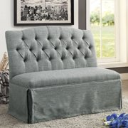Furniture of America Dehlia II Upholstered Loveseat Bench, Gray