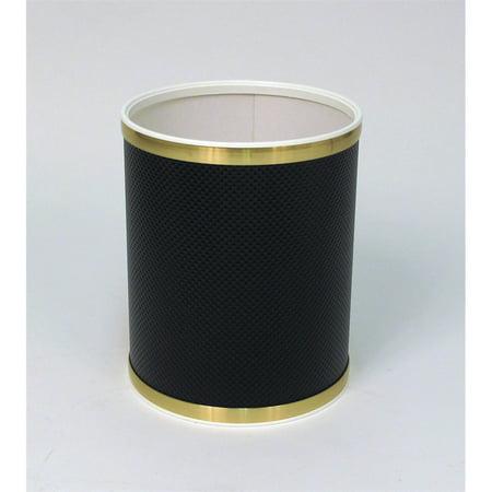 Bath Jewelry Diamond Pattern Round Vinyl Wastebasket, Black/Gold (Budget Vinyl Round Wastebasket)