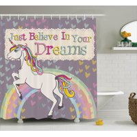 """Teen Girls Decor Shower Curtain Set, Unicorn With """"Believe In Your Dreams"""" Inspiring Quotes Illustration, Bathroom Accessories, 69W X 70L Inches, By Ambesonne"""
