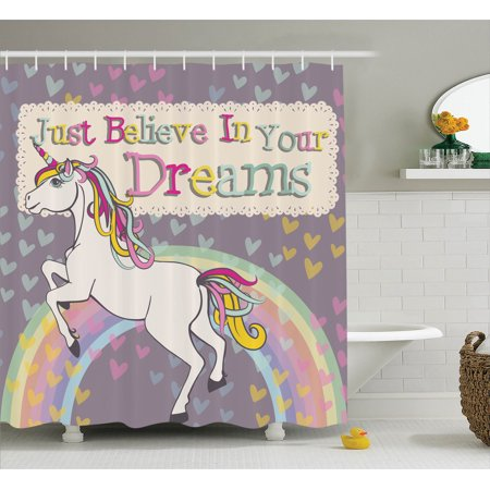 Teen Girls Decor Shower Curtain Set, Unicorn With