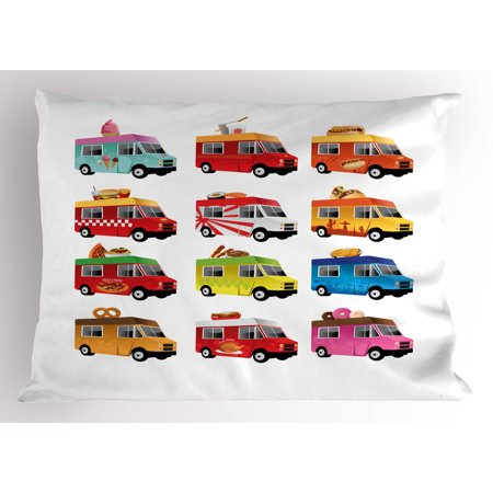 Truck Pillow Sham Ice Cream Asian Doughnut Burgers Pizza Sushi Hotdog Colorful Food Truck Illustration  Decorative Standard King Size Printed Pillowcase  36 X 20 Inches  Multicolor  By Ambesonne