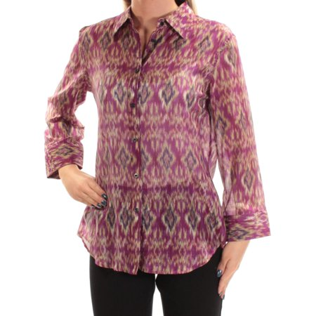RALPH LAUREN Womens Purple Printed Long Sleeve Collared Button Up Top Size: S