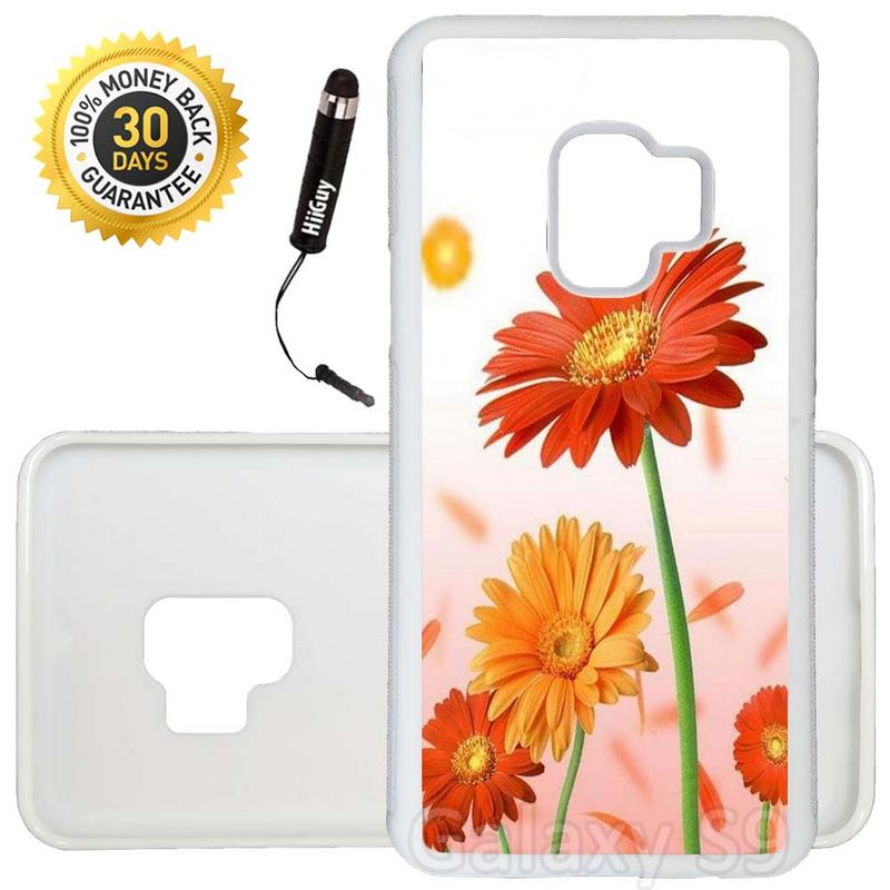 Custom Galaxy S9 Case (Orange And Yellow Daisy) Edge-to-Edge Rubber White Cover Ultra Slim | Lightweight | Includes Stylus Pen by Innosub