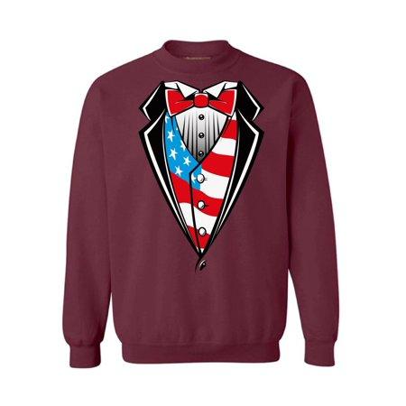 09b09b4036b24 Awkward Styles Unisex Tuxedo American Flag Graphic Sweatshirt Tops USA  Patriotic