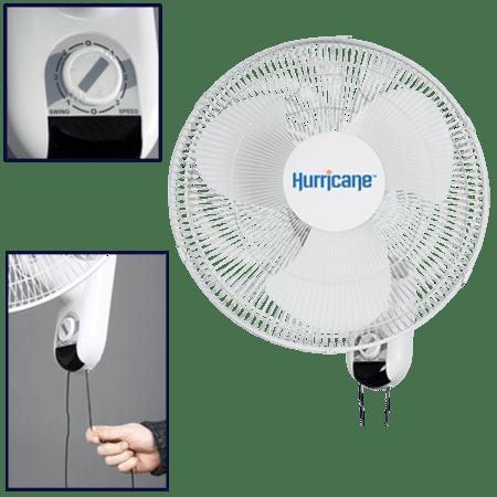 Hurricane 736503 Classic Wall Mount Oscillating Fan 16 inch