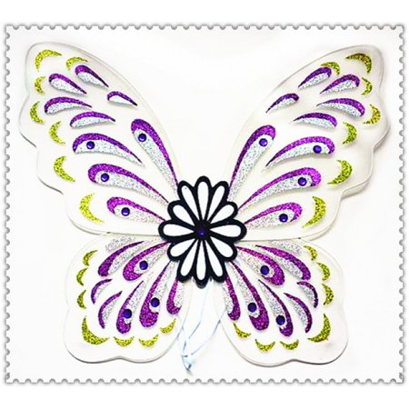 Adult Multi-Colored White, Purple, Lime, Silver Glitter Butterfly Fairy Wings