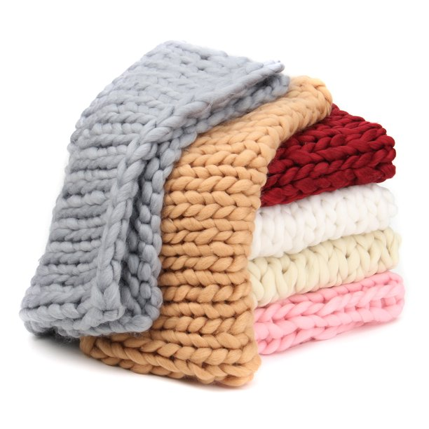 Grtsunsea 5 Sizes Hand Chunky Knitted Bed Blanket Thick ...