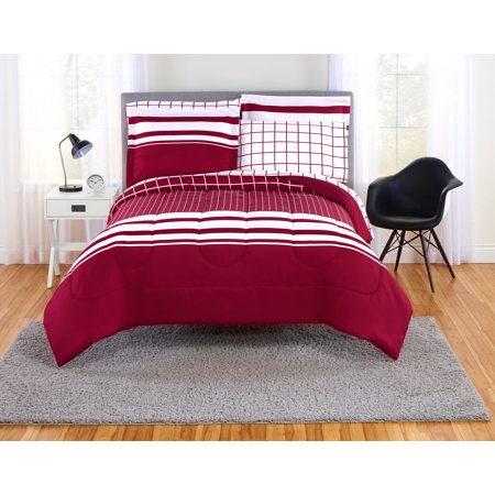 Mainstays Even Plaid Red And White Bed In A Bag Bedding Set