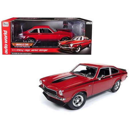 Autoworld AMM1156 1972 Chevrolet Vega Yenko Stinger Muscle & Corvette Nationals Man-O-War Red with Black Stripes to Worldwide 1 by 18 Die-Cast Model Cars - 1002 Piece - image 1 de 1