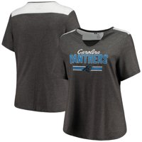 Carolina Panthers Majestic Women's Notch Neck Plus Size T-Shirt - Heathered Charcoal
