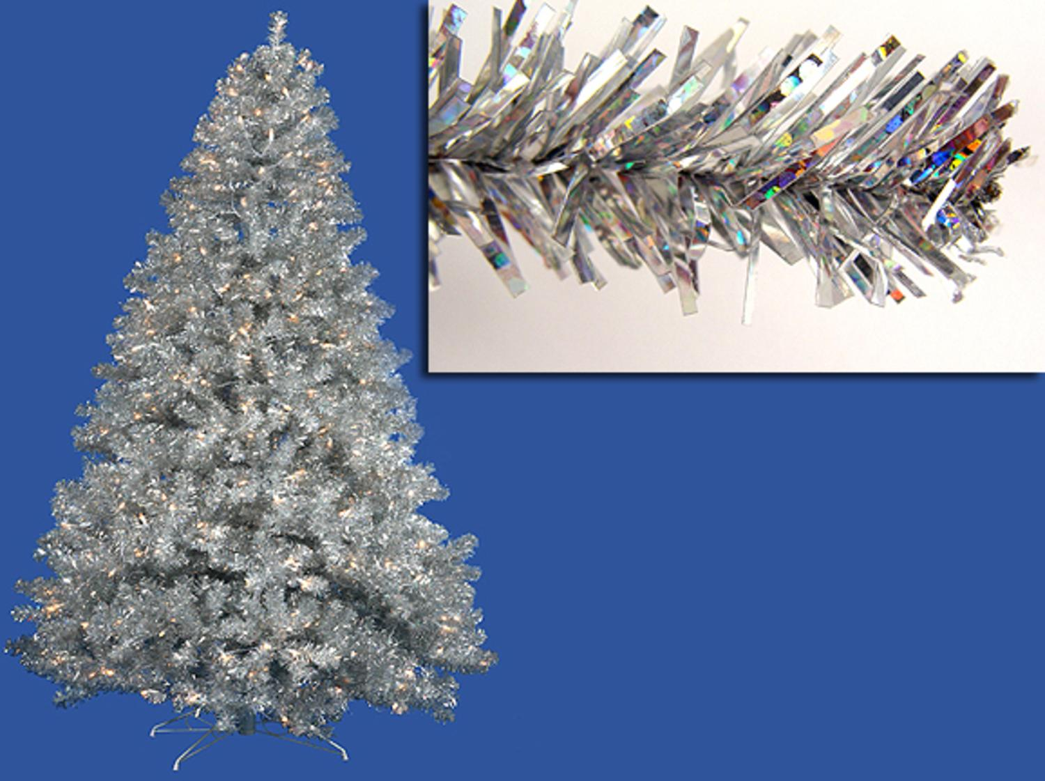 6' Pre-Lit Silver Full Artificial Sparkling Tinsel Christmas Tree- Clear Lights