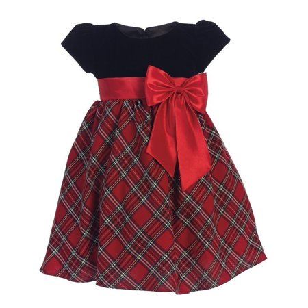 Baby Girls Red Black Velvet Plaid Taffeta Bow Christmas Dress 3-24M