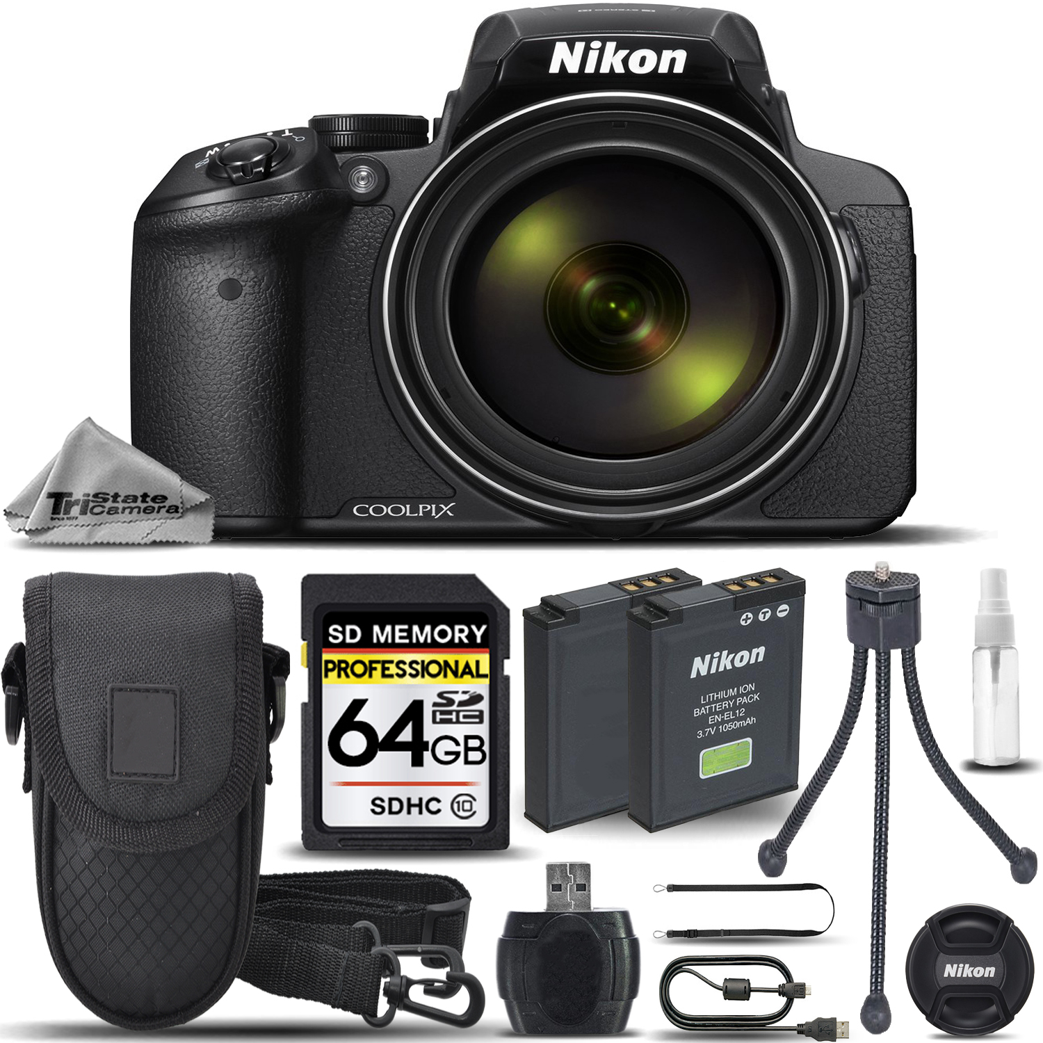 Nikon COOLPIX P900 Digital Camera 83x Optical Zoom WiFi +Case +Tripod- 64GB Kit by Nikon