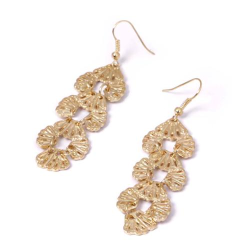 BMC Sea Shell Cascading Pattern Gold Colored Alloy Fashion Drop Dangle Earrings