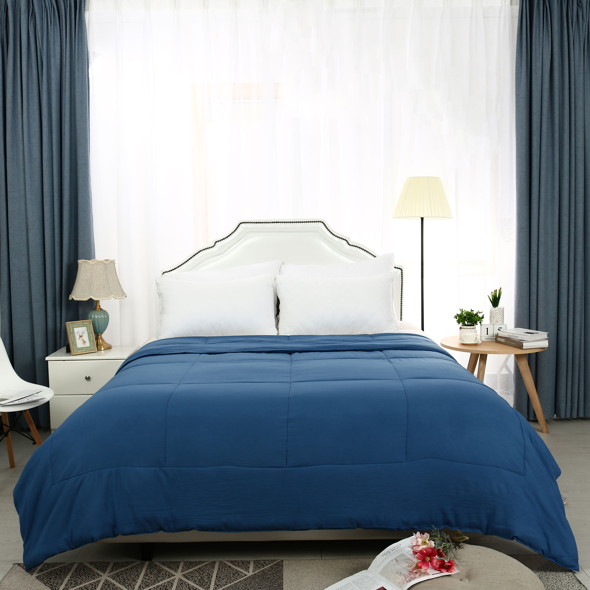 All-Season Solid Reversible Down Alternative Bedding Comforter  Blue Twin
