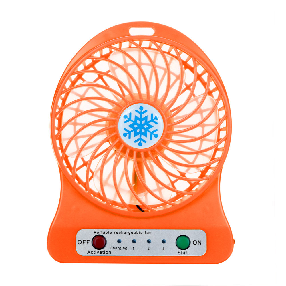 HarmonLLy Portable Rechargeable LED Light Fan Air Cooler Mini Desk USB 18650 Battery Fan Blue