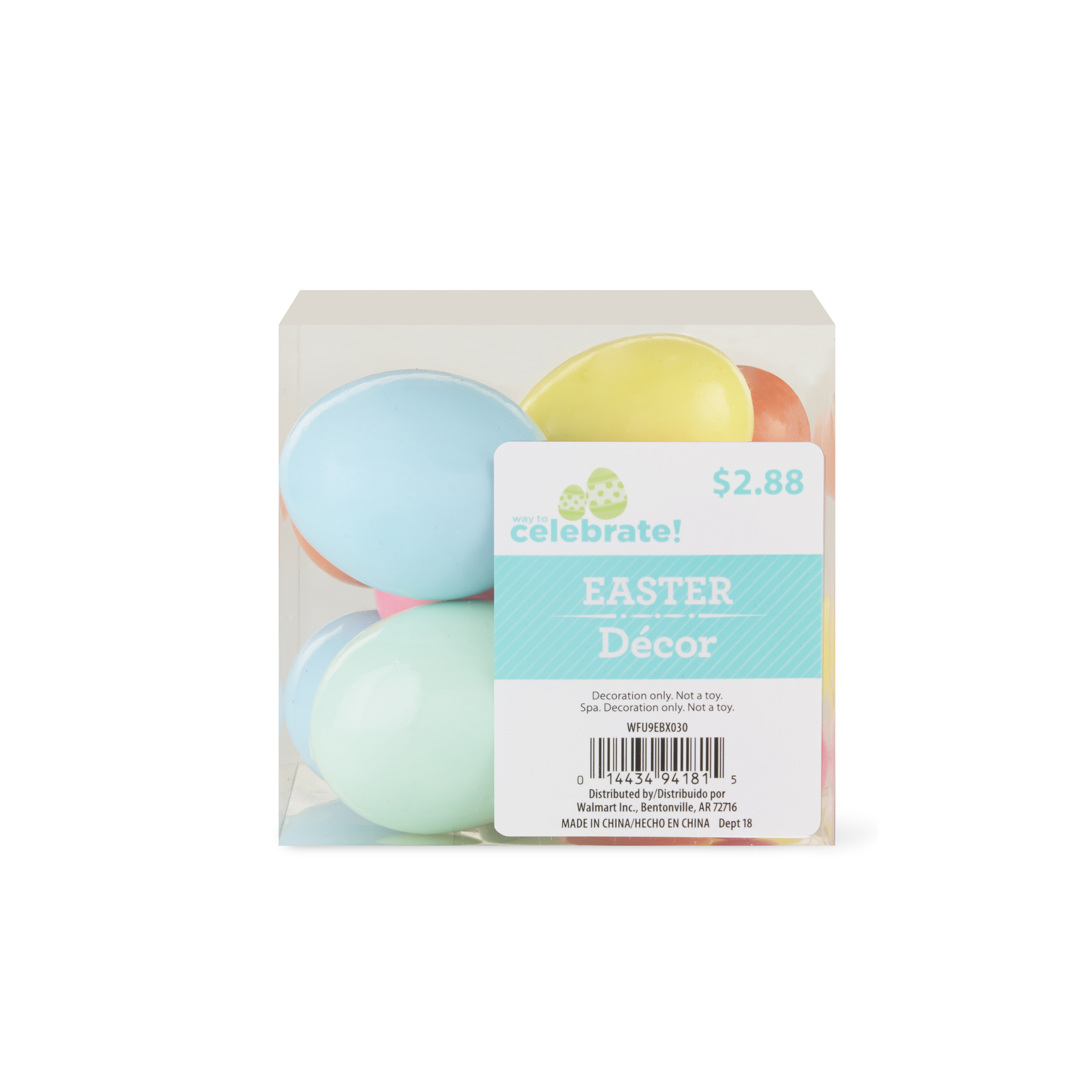 Way To Celebrate Easter Decorative Eggs, Glossy, 12 Count